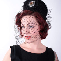 Vintage 1960s Hat - Dramatic Felt Hat with Full Caged Veil - North Star