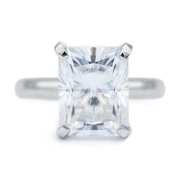 Radiant Moissanite 4 Prongs FANCY Solitaire Ring