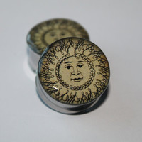 Double Sided Plugs gauges: Chinese Calligraphy Sun, 0g, 00g, 7/16, 1/2, 9/16, 5/8, 3/4, 7/8, 1 inch