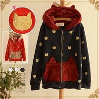 Cute kawaii cartoon cat ears hooded fleece coat