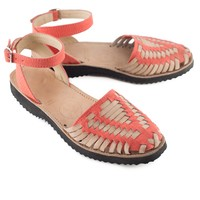 Fire Coral Strapped Woven Leather Huarache Sandals
