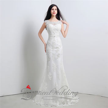 White/Ivory Sexy Mermaid Wedding Dresses In Stock Real Picture Sheer Straps Appliques Bowknot Cheap Bridal Gowns