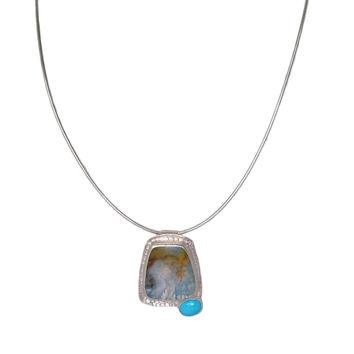 Eilza Agate and Turquoise Cord Necklace