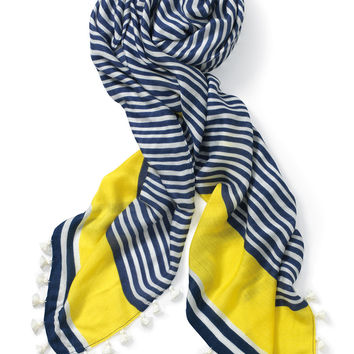Westwood Tassel Scarf - Navy White/Electric Yellow