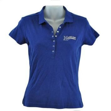 MLB Florida Miami Marlin Licensed Women Ladies Polo Shirt Navy Blue Adult XLarge