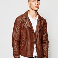 ASOS Faux Leather Biker Jacket In Brown