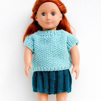 Teal Colored Hand Knit Skirt for 18 Inch Dolls, Handmade Pleated Doll Skirt, Doll Clothing in Dark Teal, Hand Knitted Doll Clothes