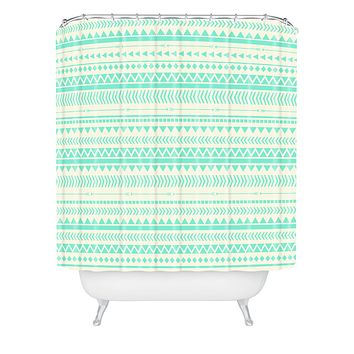 Allyson Johnson Mint Tribal Shower Curtain