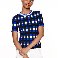 Kate Spade Plaid Short Sleeve Sweater Lapis Blue Multi