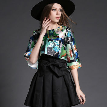 Green Floral Print Shirt and Black Bow Skirt Set