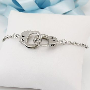 """BERRICLE Silver-Tone Handcuffs Fashion Anklet 9.5"""""""