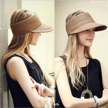 Spring Summer New Big Wide Brim Straw Sun Visors hat Women/Gilr Fashion Beach Empty Top Caps 4 Solid Colors