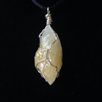 Hand-Wrapped Orange Calcite Pendant Necklace