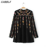 New European Women Black Shirt Fashion Floral Embroidered Women Blouses Ruffled  Ladies Tops Xfr5120