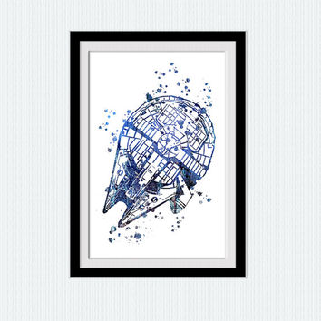 Star Wars watercolor art print Millennium Falcon colorful print Star wars poster Home decoration Kids room art Wall decor blue poster W521