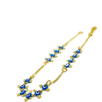(mbra-618-h6-1) Gold Overlay Light Blue Evil Eye Bracelet.