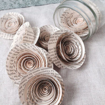 Book paper flowers rose antique wedding vintage baby shower party decoration