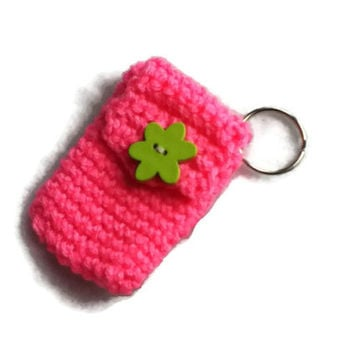 Neon Pink Keychain Pouch With Lime Flower - Money Holder - Great Gift for Him or Her - Item 1033