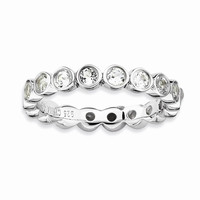 Sterling Silver Stackable Expressions White Topaz Ring: RingSize: 5