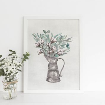 Milk Can Bouquet Farmhouse Art Print