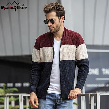 Speed Hiker New Autumn Men's Cardigans Sweater High quality Thicken V-neck 3 colors Patchwork Warm Kintted Outwear Sweater Male