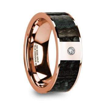 Blue Dinosaur Bone Rose Gold Wedding Ring with Diamond, 14K, Flat