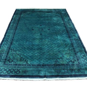 6x9 Teal Green Overdyed Chinese Deco Rug 2818