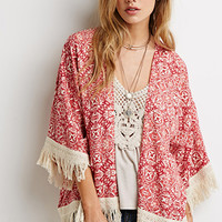 Abstract Tile Fringe-Trimmed Kimono