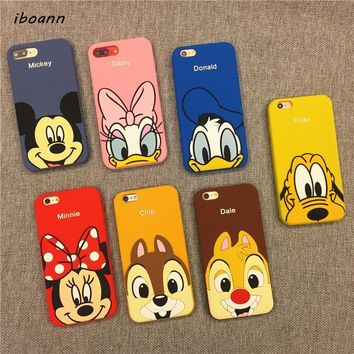 iboann 3D cartoon mickey minnie mouse daisy Donald Duck silicone soft gel case for iphone 5 5s 6 s 6plus 7 8 plus X cases