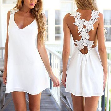 Sexy Womens Fashion Lace & Knitting Patchwork casual Back Waist Hollow Out Solid white Slim Cross Slit Open Short Dress
