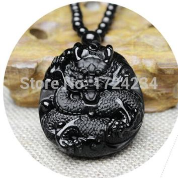 great 42x52mm Chinese Handwork Black Obsidian Carved Dragon Amulet Lucky Oriental Dragon pendant necklace