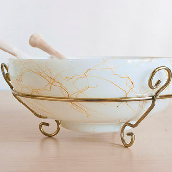 Atomic Era Hazel Atlas Glass Drizzle Spaghetti Bowl, Gold String Spatter Paint Serving Bowl with Holder and Serving Spoons