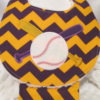 Baseball and Bat Applique' on Baby Bib with Matching Burp Cloth