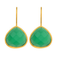 Green Onyx Drop Earrings Set In Yellow Gold Plated Sterling Silver