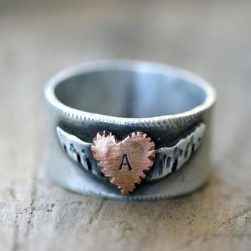 Winged Heart Ring with personalized by monkeysalwayslook on Etsy