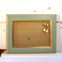 Jewelry display organizer, Country Framed Earring Display,, Dorm Decor, Mint green, blue wood Frame, rustic, 7 x 9 inches