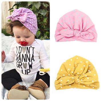 Sale Kids wrap accessories baby hair cap dots printed bandanas cute hat bowknot turban rabbit ears 1PC girls