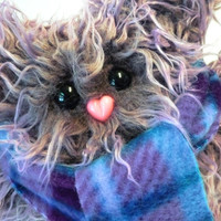 Winter Plush Monster - Petunia in Shaggy Purple - Handmade Stuffed Animal with Plaid Scarf from Mint Conspiracy