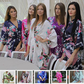 Floral Kimono Satin Bridesmaid Robes bride robe Wedding Gift Bridal Party Robe blue purple lavender pink white Set of 9 set of 10 Set of 11