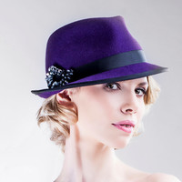 Purple Winter Felt Hat - Autumn Classic Trilby - Classic Winter Handmade Fedora - Accessory Women - Church Hats - Fashion Trends - AW14/15
