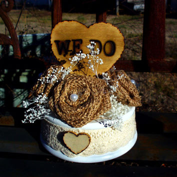 Personalized wedding cake topper burlap cake topper country cake topper rustic cake topper