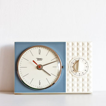 Kitchen Clock and Kitchen Timer, Diehl Electro, Ceramic Electronic Wall Clock, Vintage Retro Clock, Pottery Clock, Sky Blue, Sea
