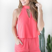 No Limit Romper with Pockets - NeonCoral