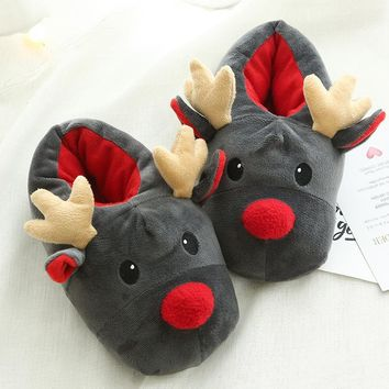 Winter Super Soft Velvet Christmas Deer Home Shoes Funny Plush Warm Indoor Slippers No Slip Floor Slipper for Women Children