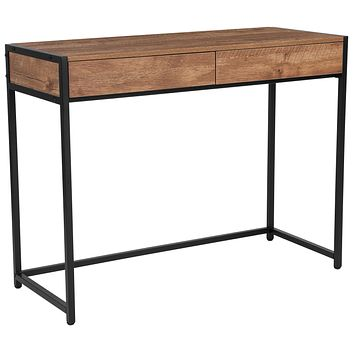 Cumberland Collection Computer Desk with Two Full-Length Drawers in Wood Grain Finish
