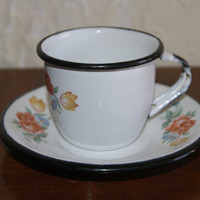 Vintage Enamelware Childs Or Demitasse Cup And Saucer Set Floral Motif White With Black Trim 1970s