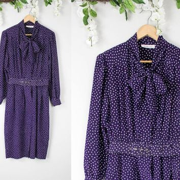 Vintage Polka Dot Purple Tie Neck Dress