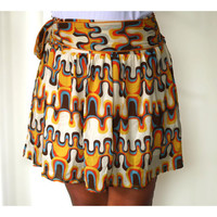 Autumn retro Skirt in orange, mustard yellow, blue and brown abstract mini skirt.