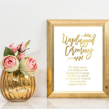 Unplugged Wedding Sign, Real Gold Foil Print, Wedding Signs, Wedding Decoration, Wedding Print, Gold Foil Sign Wedding, Ceremony Decor, 8x10