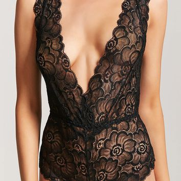Sheer Lace Surplice Teddy
